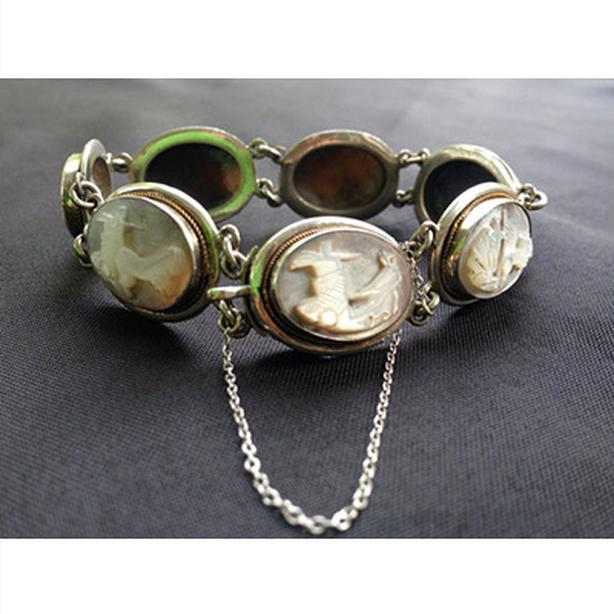 Antique Silver Days of the Week Cameo Bracelet