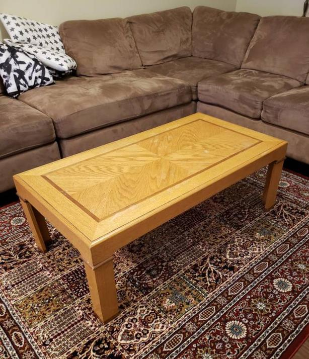 Wood coffee Table, 2 End Table with 1 chair