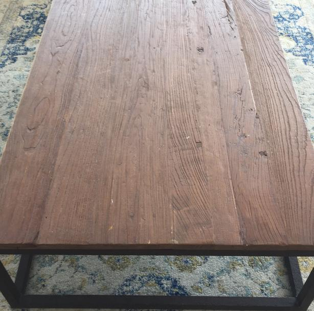 center table- recycled wood and metal