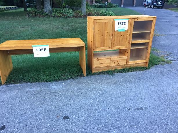 FREE: entertainment cupboard & desk