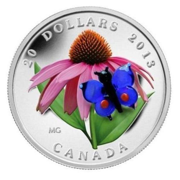 $20 Silver Coin Purple Coneflower with Venetian Glass Butterfly