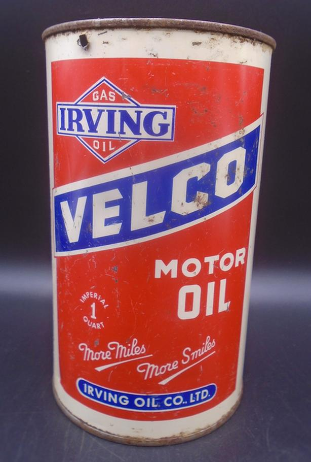 RARE 1940's VINTAGE IRVING VELCO MOTOR OIL IMPERIAL QUART CAN