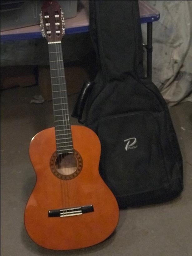 Acoustic Guitar, Case and Music Stand