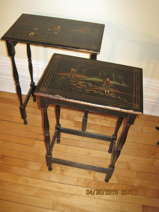 Vintage Nested Chinoiserie tables