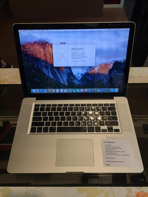 """15"""" MacBook Pro 2.66 GHz Intel Core 2 Duo 8 GB RAM 500 GB HD w/ Warranty!"""