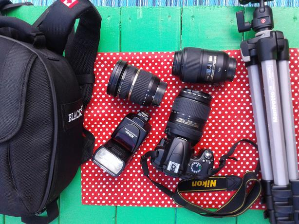 Nikon DSLR camera body, lenses ,flash,. Whole Package only.