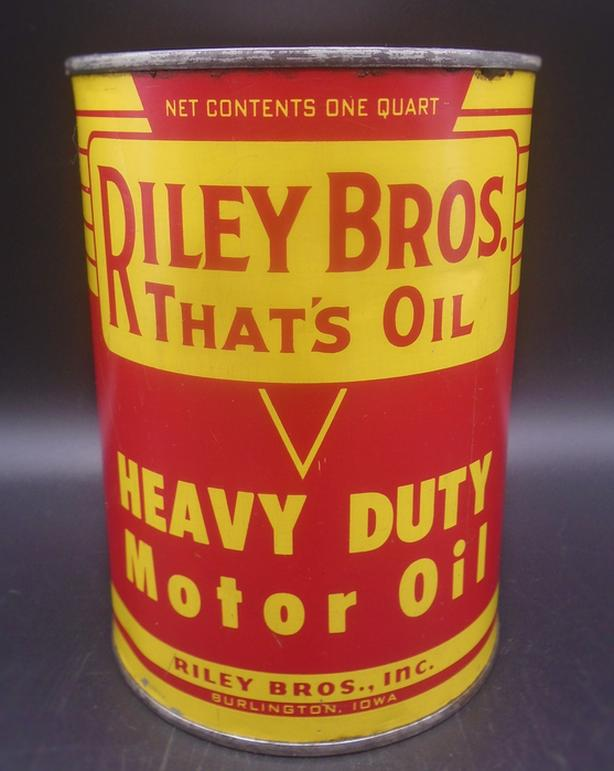 VINTAGE 1950's RILEY BROS HEAVY DUTY MOTOR OIL QUART CAN