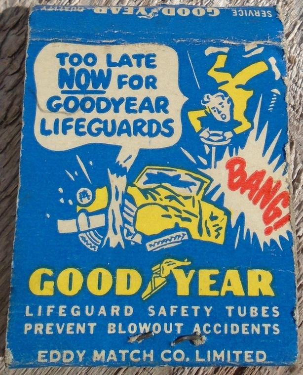 VINTAGE 1950's GOOD YEAR TIRES MATCH BOOK COVER - LONGLAC, ONT.