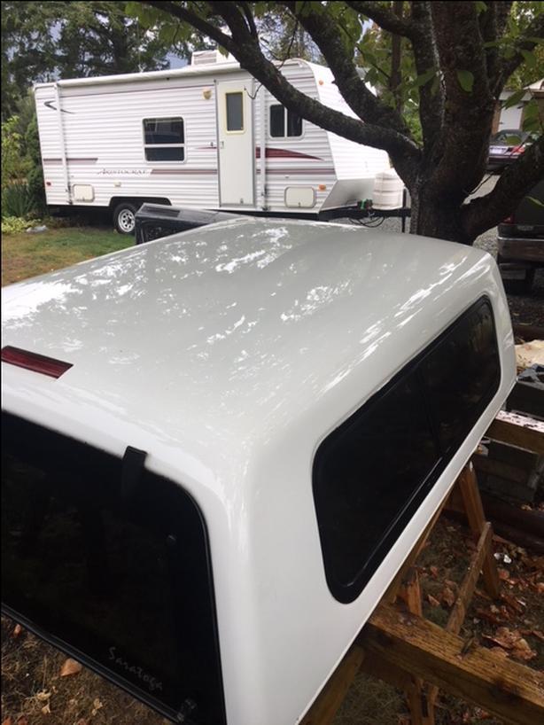 Beautiful freshly waxed white f150 canopy