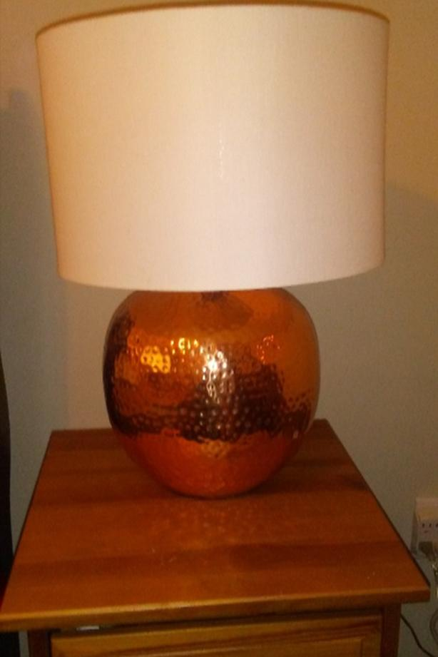 Hand hammered copper lamps