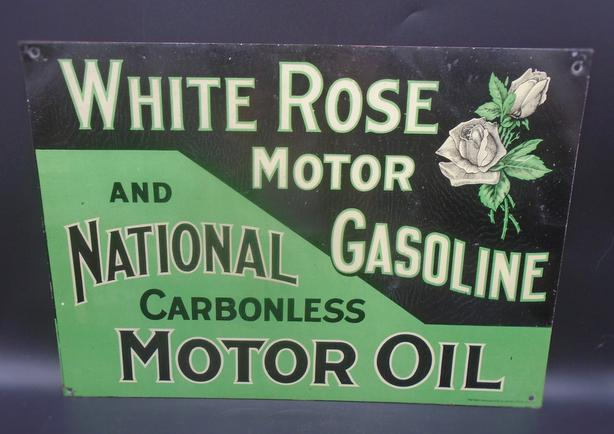 "RARE 1910's ANTIQUE WHITE ROSE MOTOR GASOLINE 9.75 X 13.75"" SIGN"