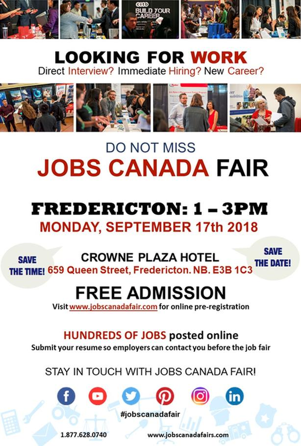 FREE: Fredericton Job Fair – September 17th 2018