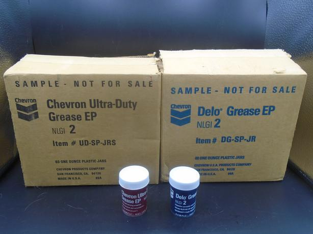 CHEVRON GREASE FULL SALESMAN SAMPLE JARS IN BOX