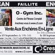 Online Auction of O-GYM Mascouche