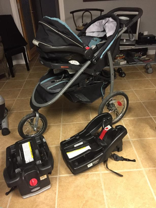 Graco Jogging Stroller Plus Car Seat And 2 Bases