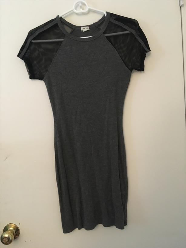 Gray and black mesh garage dress