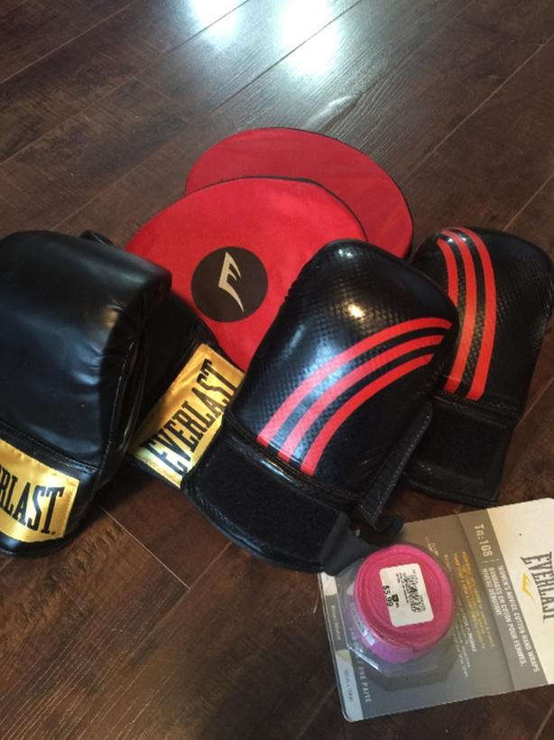 target pads and sparring gloves