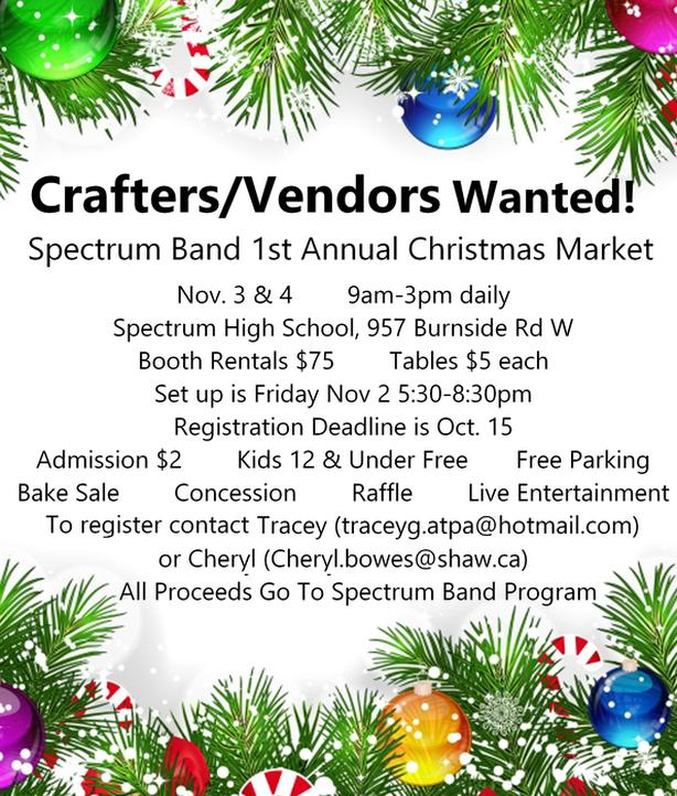 Vendorr's/Crafterr's  Wanted!  Spectrum Band Christmas Market - Vendors Wanted