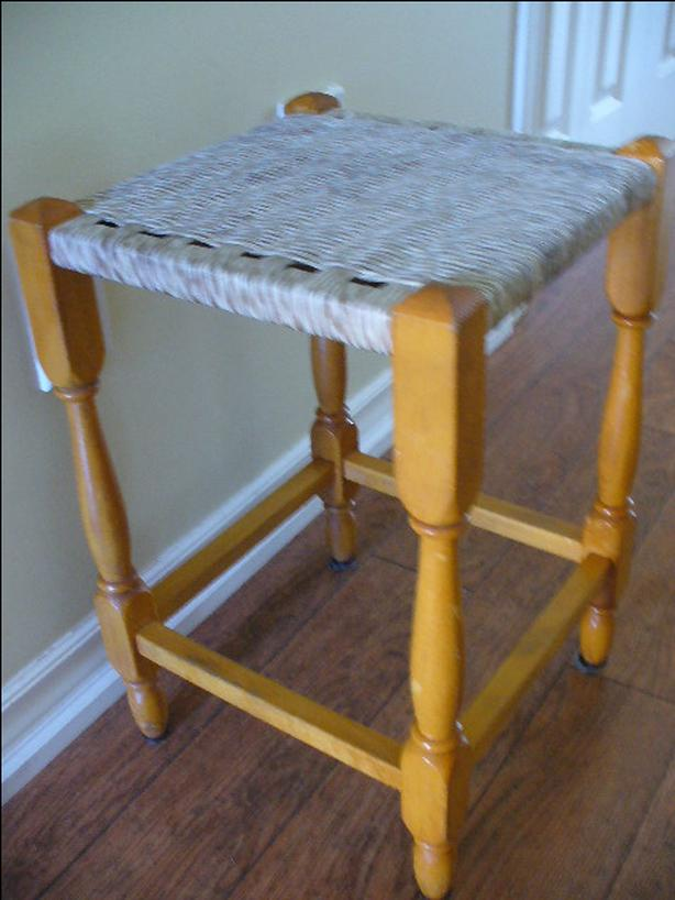 SMALL SQUARE TABLE - WEAVE TOP- WOOD LEGS