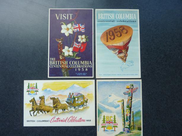 Four post cards BC Centennial Celebrations 1959