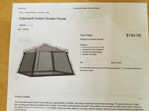 brand new 57224 6a638  Log In needed $130 · Coleman instant screen house
