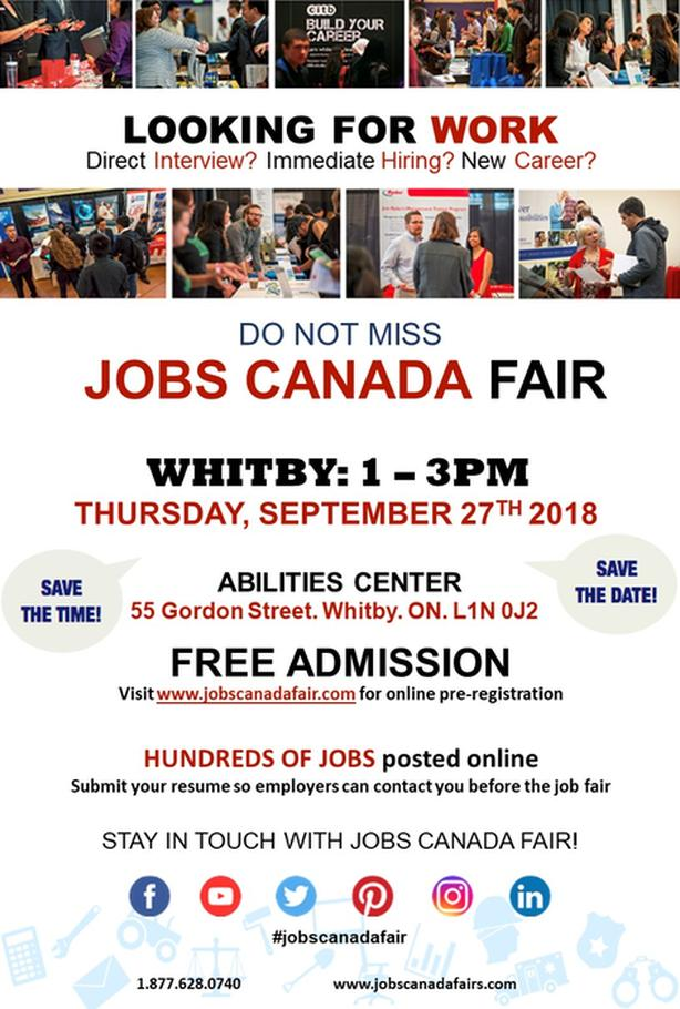Whitby Job Fair – September 27th, 2018