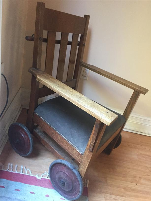 Antique Wooden/Leather Chair