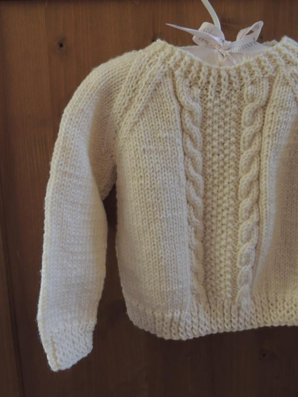 Hand knit soft acrylic Fisherman's style sweater size 12-24 mths, as new