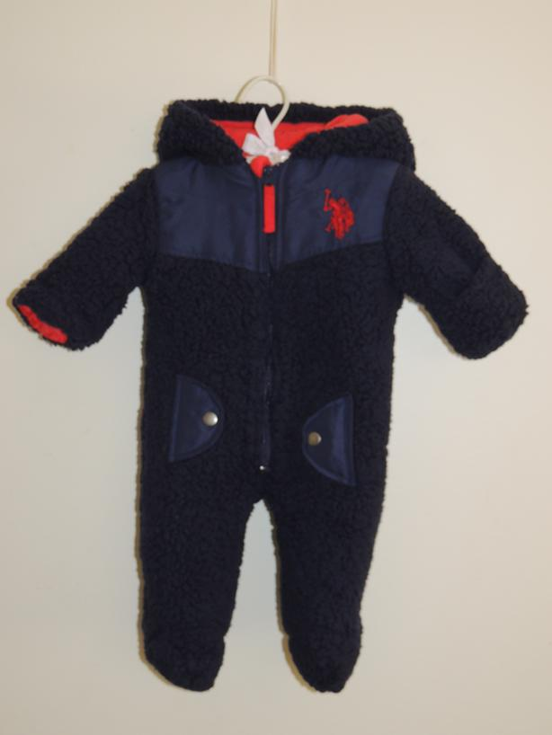 U.S. Polo Assn. 6-9 mths sherpa lined fleece suit, great condition