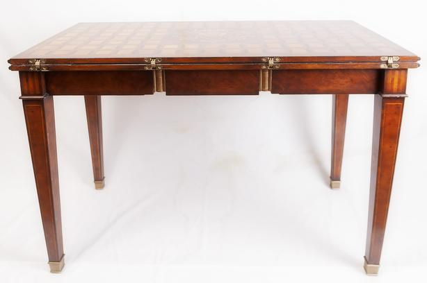 French Mahogany Convertible Table /w Marquetry inlays + 4 Chairs