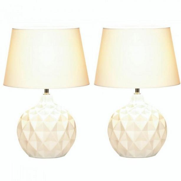 Round White Table Lamp with Faceted Geometric Shapes & Fabric Shade Set of 2 NEW