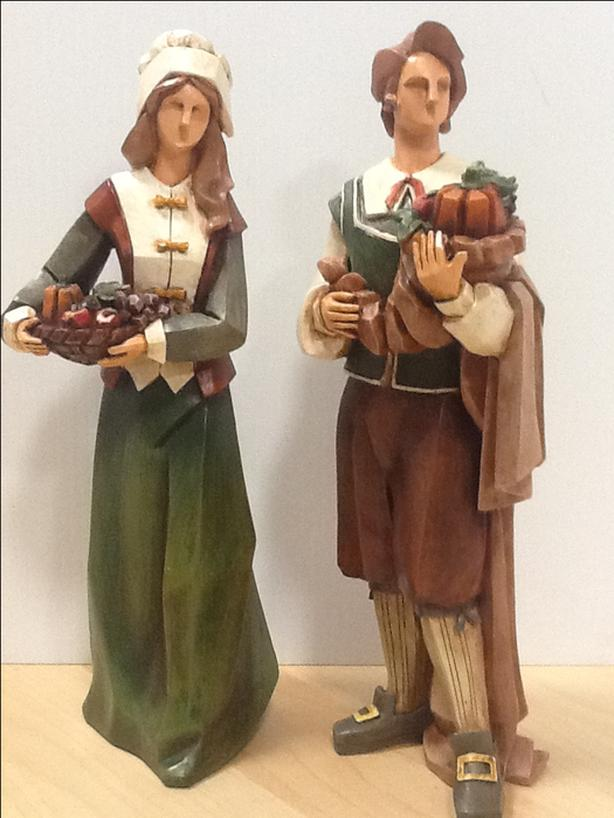 THANKSGIVING DECOR - PILGRIM STATUES AND CANDLE HOLDERS - NEW