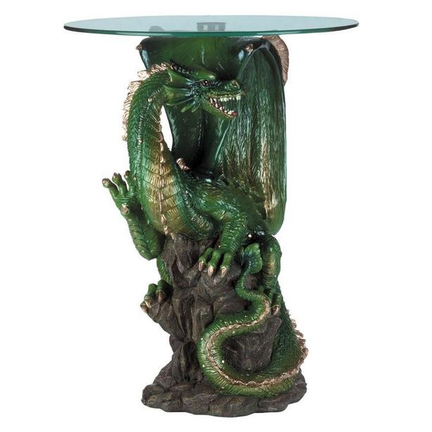 Green Dragon Figurine Statue Accent Table with Glass Top Brand New