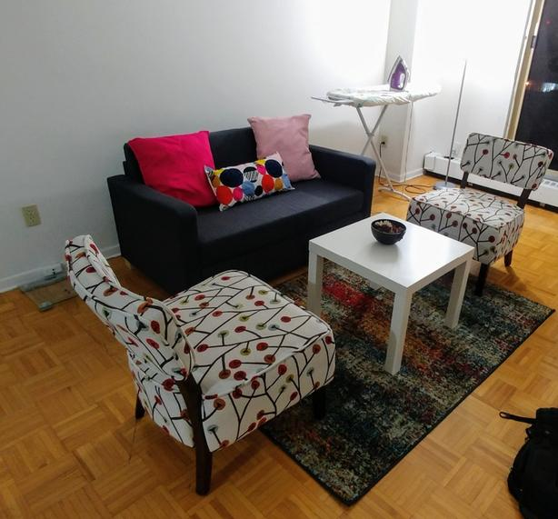 Moving Sale: Love Seat, 2 Chairs, Coffee Table, Rug, 3 Cushions
