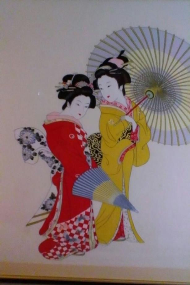 "Large Japanese Picture 31"" x 32"""