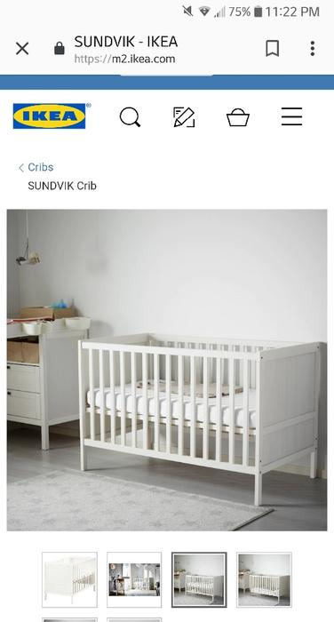 new style 8ce05 15044 $190 · rarely used ikea crib, mattress and two fitted sheets