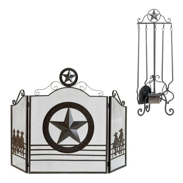 Country Western Lone Star Fireplace Screen 2 Designs Your Choice + Tool Set NEW