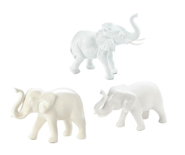 White Ceramic ELEPHANT Figurines Stool Side Table Plant Stand 4PC Mixed Lot New