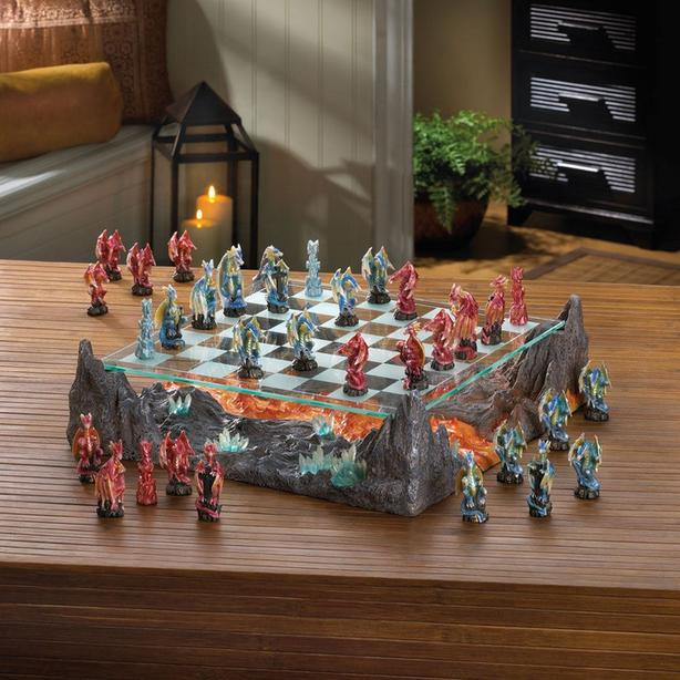 Color Winged Dragons Chess Set With Glass Board Brand New