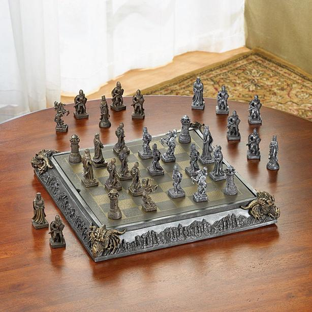 Knights & Dragon Medieval Chess Set with Dragon Head Corners & Glass Board New