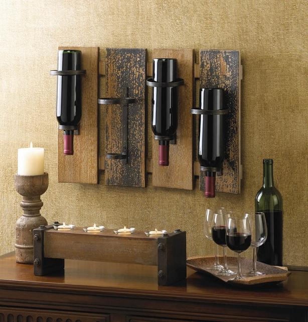 Cowboy Boot Wine Bottle Holder & Rustic Wood Plank Country Fence Wine Rack 2PC