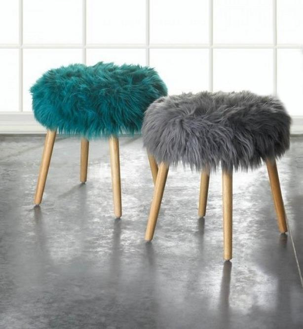 Round Wood Footstool Seat with Faux Fur Top Choose Turquoise Blue or Gray New