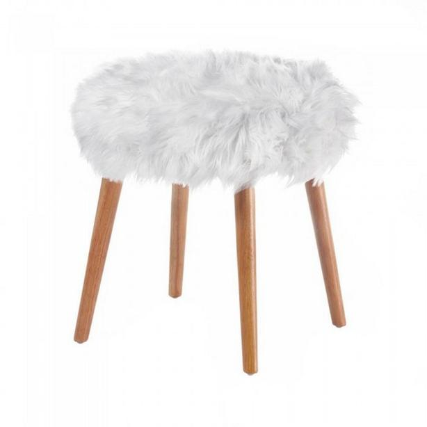 Round Wood Footstool Seat with White Faux Fur Top Brand New