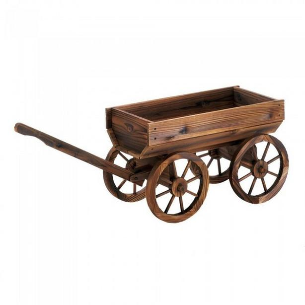 Cottage Chic Rustic Wood Wine Barrel Plant Stand Cart with Wagon Wheels New