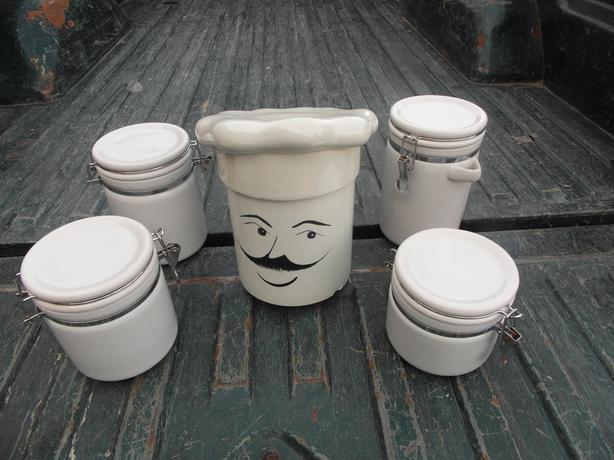 cookie jar with 4 cannisters-  N. Duncan