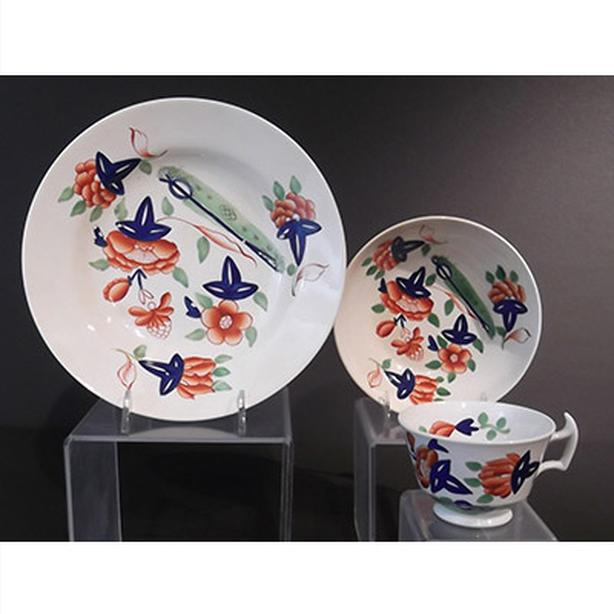 Antique Gaudy Welsh cup, saucer and bowl