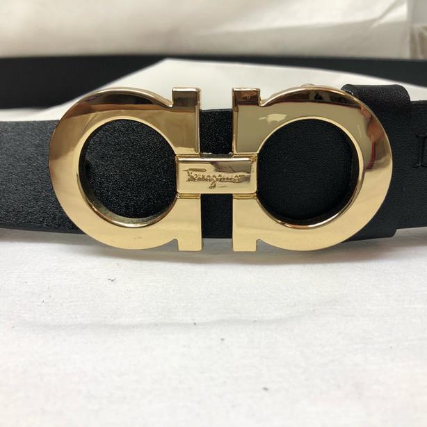 New Salvatore Ferragamo Premium Genuine Leather Belt BLACK