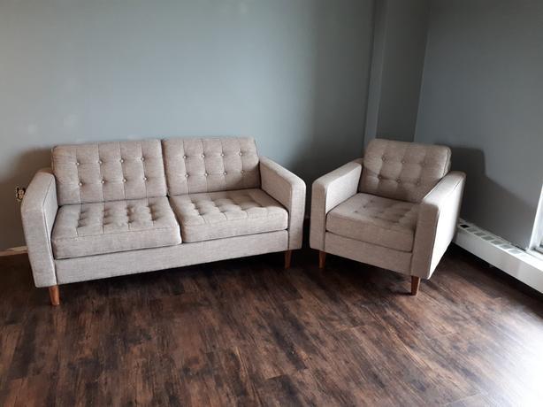 EQ3 Modern Living Room Love Seat & Chair