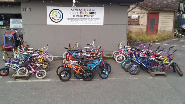"FREE: Children's bike exchange program. From tricycles to 18"" wheel size"