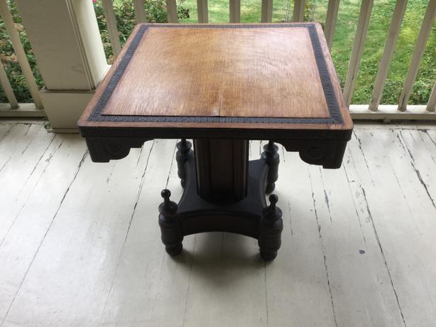 Antique Oak and leather table